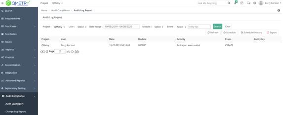 Qmetry audit log report